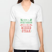 vegetarian V-neck T-shirts featuring Being A Vegetarian Is A Big Missed Steak by AmazingVision