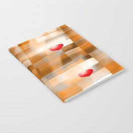 Little Red Hearts over Amber Tiles Notebook