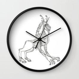 Wendigo Crouching Doodle Art Wall Clock