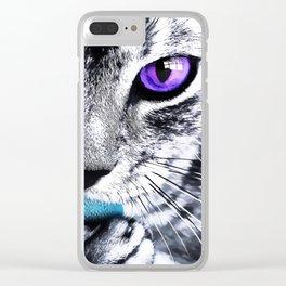Purple eyes Cat Clear iPhone Case