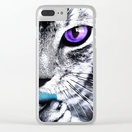 Purple eyes Cat Clear iPhone Case
