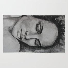 Art, drawing portrait of beautiful model Rug