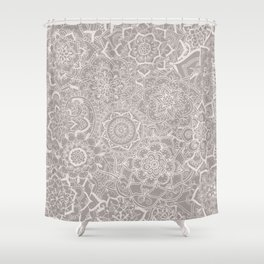 Delicate Lace Mandala Pattern (Grey/Cream) Shower Curtain
