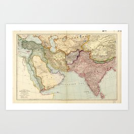 Map of the Middle East and South East Asia (1912) Art Print