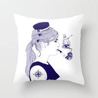 nautical Throw Pillows featuring Nautical by Nathalie Otter