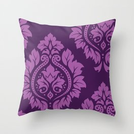 Decorative Damask Art I Light on Dark Plum Throw Pillow