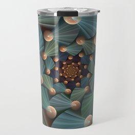 Graphic Design, Modern Fractal Art Pattern Travel Mug