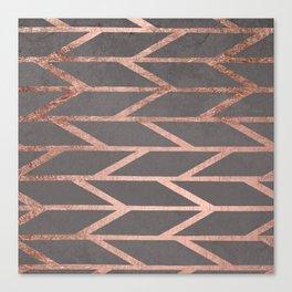 Rose gold chevron stripes geometric pattern on grey cement concrete Canvas Print