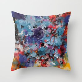 Abstract Art Dripping Composition in yellow and red Throw Pillow