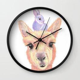 Orange Alpaca and Purple Bunny Wall Clock