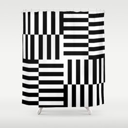 Geometrical abstract black white stripes pattern Shower Curtain