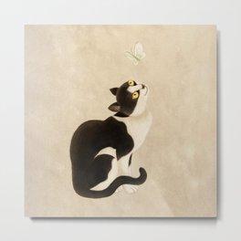 Minhwa: cat & butterfly (Korean traditional/folk art) Metal Print