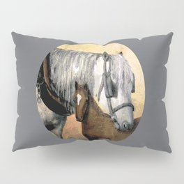 Plow Horse and Foal Pillow Sham