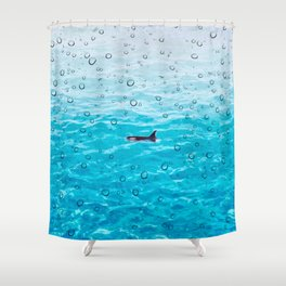 Orca Whale gliding through the water on a rainy day Shower Curtain