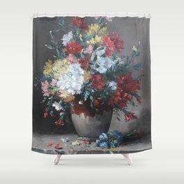 Eugene Henri Cauchois - Carnations in a Vase on Stone Plinth (1890) Shower Curtain