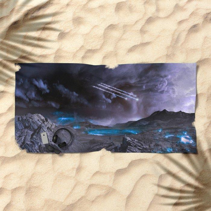 Extraterrestrial Landscape : Galaxy Planet Beach Towel