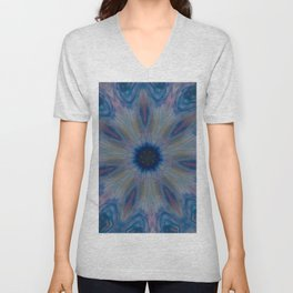 Fluid Nature - Blue Haze Mandala Style Design Unisex V-Neck