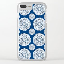 Silver and Navy Mandalas Clear iPhone Case