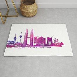 Kuala Lumpur skyline purple Rug