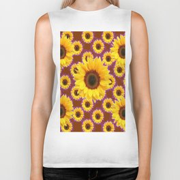 Brown & Violet Accents Color Sunflowers Pattern Biker Tank