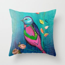 Colorful bird with roses Throw Pillow