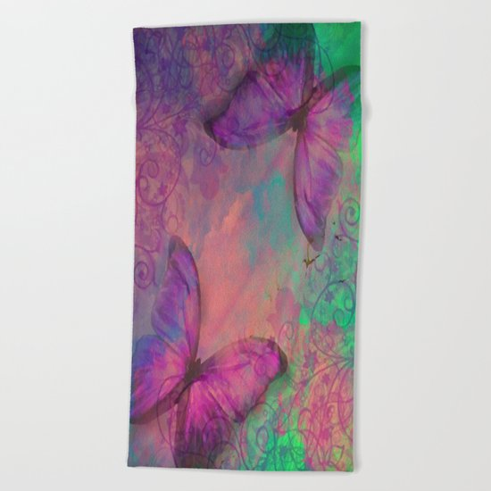 Butterfly Love Abstract Beach Towel