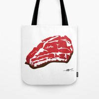 meat Tote Bags featuring meat by Takeru Amano