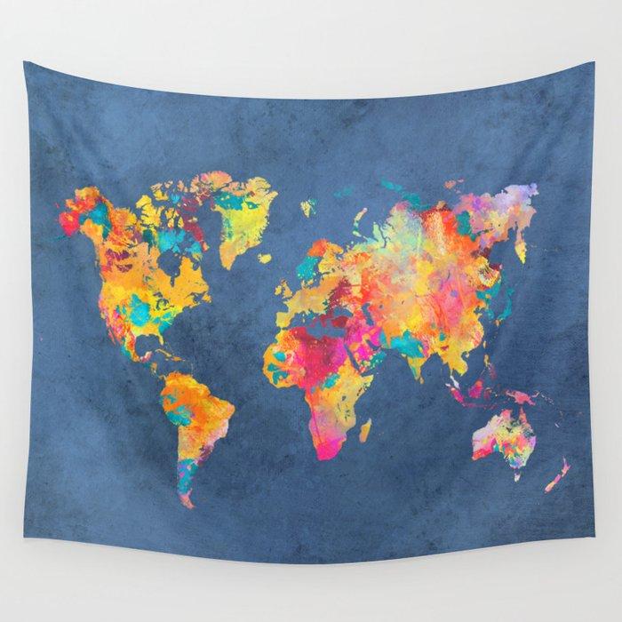 World map blue 2061 wall tapestry by jbjart society6 world map blue 2061 wall tapestry gumiabroncs Images