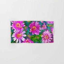 Pink Daisies Flower Party 2 by Jennifer Berdy Hand & Bath Towel