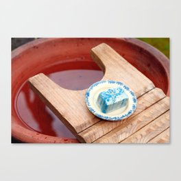 Soap and wooden washboard Canvas Print