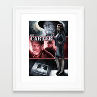 agent carter Framed Art Prints featuring Agent Carter Color by rnlaing