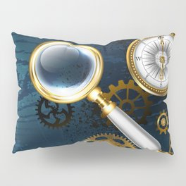 Steampunk blue background with magnifier Pillow Sham