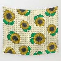 sunflower Wall Tapestries featuring Sunflower by Vickn