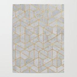 Concrete Hexagonal Pattern Poster