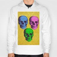 damask Hoodies featuring 3 Damask skulls. on damask. by Drew Mandigo