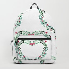 Heart Wreath Hand-painted in Green Ferns and Pink Blossoms on White Backpack