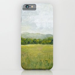 Vermont Landscape Mountain Fields Trees Pastures Oil Painting iPhone Case