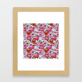 Kawaii Strawberries Framed Art Print