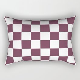 Checkered Pattern: Burgundy Red Rectangular Pillow