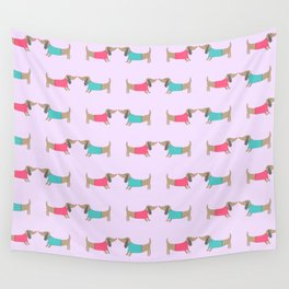 Cute dog lovers in pink background Wall Tapestry