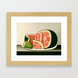 Watermelon on a Plate Painting Framed Art Print