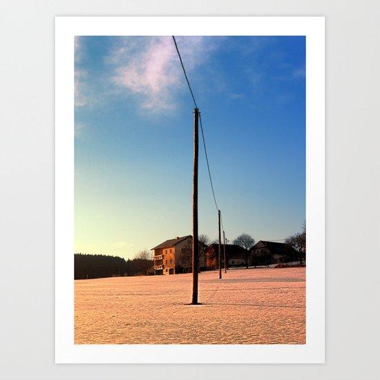 Powerline, sundown and winter wonderland | landscape photography Art Print