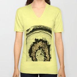 Gray Black White Agate with Rose Gold Glitter #1 #gem #decor #art #society6 Unisex V-Neck