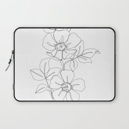Floral one line drawing - Rose Laptop Sleeve