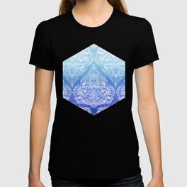 Out of the Blue - White Lace Doodle in Ombre Aqua and Cobalt T-shirt