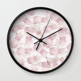 Geometric rose gold pineapples marble pattern Wall Clock