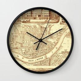Vintage Cincinnati Map 1850 Wall Clock