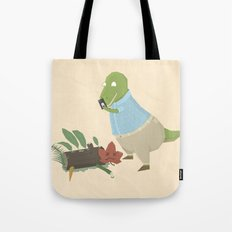Hipster Dinosaur Instagrams his Vegan Lunch Tote Bag