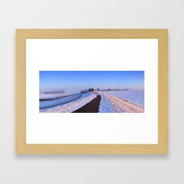 II - Lake and dike at sunrise in winter in The Netherlands Framed Art Print