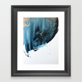 A Minimal Sapphire and Gold Abstract piece in blue white and gold by Alyssa Hamilton Art  Framed Art Print